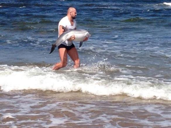 Yes, this is Cathal Pendred pulling a George Costanza rescuing a beached baby dolphin.